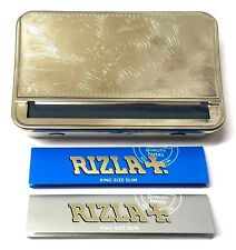KING SIZE AUTOMATIC ROLLING MACHINE METAL BOX TOBACCO TIN and RIZLA SLIM PAPERS