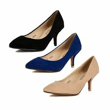 Kitten Heel Faux suede pointed toe court shoes