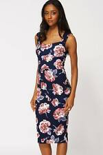 New Womens Floral Midi Bodycon Pencil Party Evening Dress Size 8