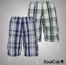 Mens Branded SoulCal Casual Zip Fly Check Cargo Shorts Pants Bottoms Size S-XXL