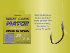 Drennan Wide Gape Match Hooks To Nylon Micro Barbed All SIzes Available