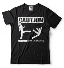 Caution This Is Sparta Cool T-shirt Funny Tee Shirt Spartan T-shirts Gym T-shirt