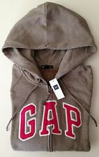Womens GAP LOGO BROWN ZIP UP HOODIE SWEATSHIRT Sizes M, L, XL - NWT