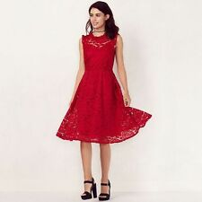 LAUREN CONRAD RED MOCKNECK FLORAL LACE SLEEVELASS DRESS XS,S;NWT