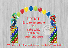 Sega Super Mario Brothers Luigi BALLOON ARCH with COLUMNS Birthday Party