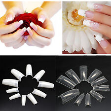 500 Artificial French False Acrylic Nail Art Tips White Clear Natural UV Gel