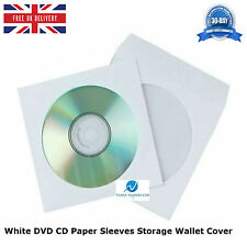 White DVD CD Paper Sleeves Storage Wallet Cover Case With Clear Window & Flap HQ