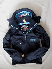 Superdry Womens Professional Hooded outdoor Cagoule Jacket coat Black size S