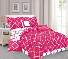 Galaxy 7-Piece Comforter Set Reversible Soft Oversized Bedding White & Hot Pink