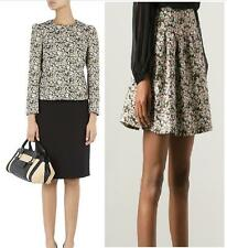AUTH RED Valentino Beige Floral Jacquard Jacket & Skirt IT38