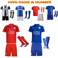 Newest 16-17 Football Kit Soccer Jersey Short Sleeve Kids Boy Suit 2-13Yrs+socks