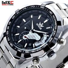 Luxury Men Skeleton Automatic Mechanical Wrist Watch Stainless Steel Analog Band