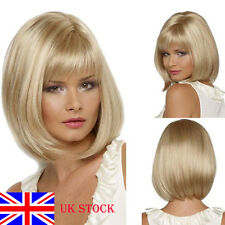 UK STOCK! Blonde Straight Bobo Short Full Wig Hair Cosplay Fancy Dress Party New