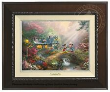 Thomas Kinkade Mickey and Minnie Sweetheart Bridge 9 x 12 Canvas Classic Framed