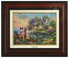 Thomas Kinkade Mickey and Minnie Sweetheart Cove 9 x 12 Canvas Classic (Framed)