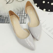 Summer Cutout Pointed toe Patent Leather Flats Women Casual Shoes Plus Size