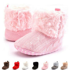 Infant Crochet Knit Fleece Boots Toddler Girl Wool Soft Sole Shoes Crib Booties