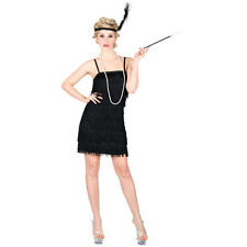 Ladies Showtime Flapper Black Fancy Dress Costume for 20s 30s Gangsters Moll Cos