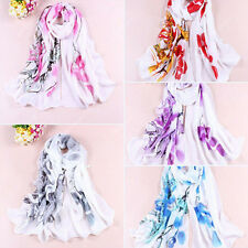 Women's Soft Ink Painting Chiffon Flower Printed Wrap Shawl Long Scarf Handy