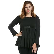 Womens Casual Plus Size Loose Scoop Neck Solid Long Sleeve Top LM01