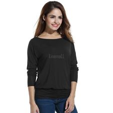 Women Casual Boat Neck Batwing Sleeve Solid Draped Blouse Dolman Top LM01