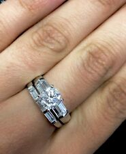 14K Solid White Gold 1.50 cttw Good Cut Cubic Zirconia Wedding Engagement Ring