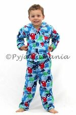 Pyjamas Boys Winter Flannel (Sz 3-7) Pjs Set Light Blue Monsters Sz 3 4 5 6 7