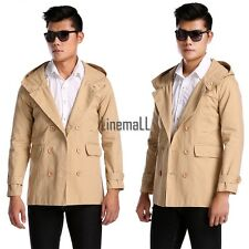 New Mens Fashion Casual Double Breasted Trench Slim Fit Long Coat Hoodies LM01