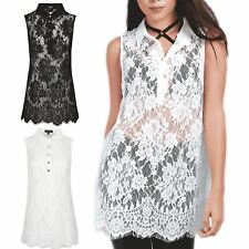 Womens Ladies Sleeveless Full Floral Lace Collared Swing Button Down Dress Top