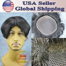 """Mens Toupee HairPiece Wig Replacement 6"""" Indian Remy Straight Hair Base 9""""*7"""""""