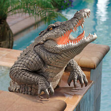 Menacingly Fearsome Snapping Swamp Savage Barbed Fangs Alligator Garden Statue