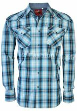 RODEO MEN'S WESTERN COWBOY RODEO PEARL SNAP SHIRT LONG SLEEVE PLAID 406 BLACK