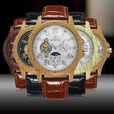 Mens Steampunk Skeleton Auto Mechanical Wrist Watch Analog Wooden Leather Strap