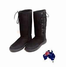 Black Ultra Tall Ugg Boots Australian Moulded Sole Laceup Wool Sheepskin Boot