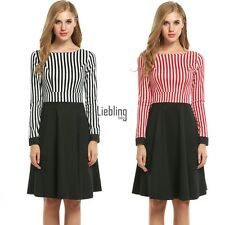 Women Long Sleeve Striped Patchwork Fit and Flare Swing Dress LEBB