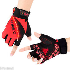 Enkeeo Unisex Cycling GLOVES Cycle Bike Bicycle Half Finger Breathable MITTS LED