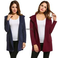 New Women Casual Hooded Long Sleeve Solid Knit Cardigan Sweaters LM04