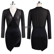 Sexy Women Sheer Chiffon V-Neck Long Sleeve Dress High Waist Asymmetric Hem LM02