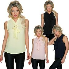Women'S Blouse Top Blouse Top Bow tie blouse bow Crepe S 34 36 Office Party sexy