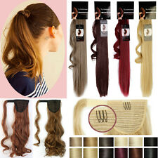 US 100% Real Soft Pony Tail Clip in Hair Extension Wrap Around Ponytail Long T34