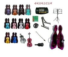 New Cello+Hard Case+Bag+Bow+Rosin+2 Sets of Strings+2 Stands+Metro Tuner+Mute