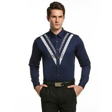 Mens Casual British Style Long Sleeve Slim Button Down Collar Print Shirt LM02