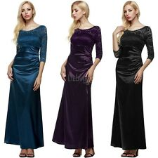 Women 3/4 Sleeve Lace gown Party Wedding Cocktail Party Evening full Dress LEBB