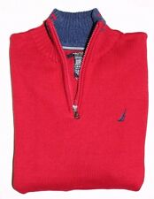 New Nautica Boy's 1/2 zip Mock Neck Sweater Knit Pullover Red Cotton Size L XL