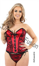 Ladies Sexy Red/Black Basque and Thong Set Womens Corset Lingerie Underwear (DQ)