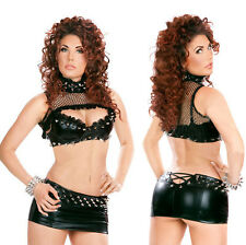 Sexy Womens Faux Leather Bra + Mini Skirt Punk Erotic Lingerie DS Clubwear M-XL