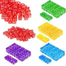 100pcs Opaque/Translucent 16mm Six Sided D6 Spoted Dice RPG Board Game Party Toy