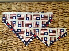 PERSONALIZED OVER THE COLLAR AMERICAN FLAG STARS STRIPES PATRIOTIC DOG BANDANAS