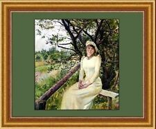 """Young Woman on a Bench Krohg GREEN 11""""x14"""" Beautiful Woman canvas print"""