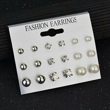 9Pairs Women Simple Crystal Rhinestone Pearl Stud Earrings Set Fashion Jewelry